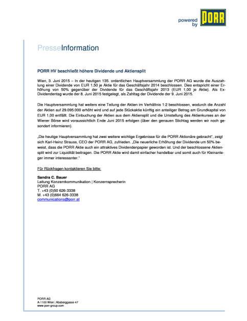 Porr Dividendeninfo und Aktiensplit, Seite 1/1, komplettes Dokument unter http://boerse-social.com/static/uploads/file_77_porr_aktiensplit.pdf (03.06.2015)