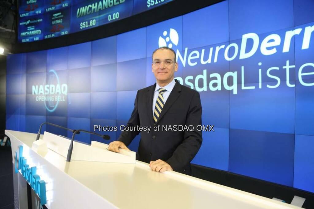 NeuroDerm Ltd. rang the #Nasdaq Opening Bell! $NDR #biotech  Source: http://facebook.com/NASDAQ (03.06.2015)