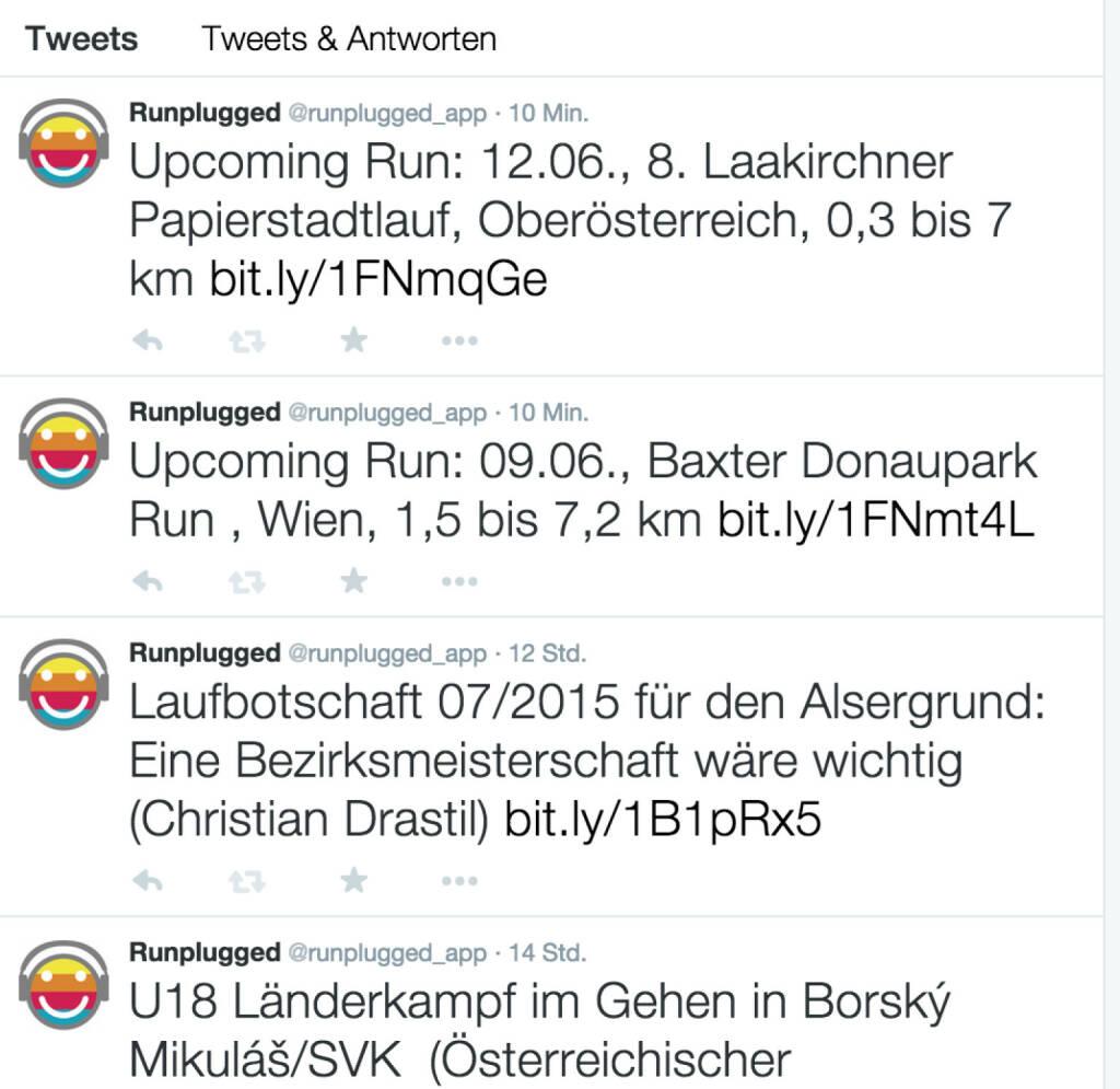 Laufnews auch via Twitter, Alsergrund-Schwerpunkt https://twitter.com/runplugged_app (09.06.2015)