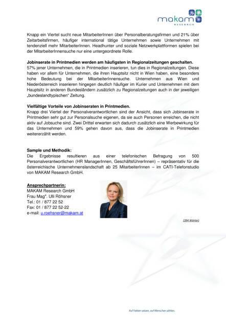 Printmedien bleiben wichtiger Rekrutierungskanal für neue MitarbeiterInnen, Seite 2/2, komplettes Dokument unter http://boerse-social.com/static/uploads/file_98_makam_jobstudie.pdf (09.06.2015)