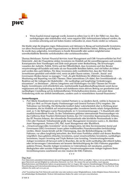 PwC: 70% der institutionellen Investoren lehnen Projekte aufgrund von Umwelt-, Sozial- und Governance-Risiken ab, Seite 2/2, komplettes Dokument unter http://boerse-social.com/static/uploads/file_99_pwc.pdf (09.06.2015)