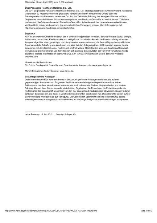 Bayer verkauft Diabetes-Care-Geschäft für 1,022 Milliarden Euro an Panasonic Healthcare Holdings Co., Ltd., Seite 2/2, komplettes Dokument unter http://boerse-social.com/static/uploads/file_107_bayer_diabetes.pdf