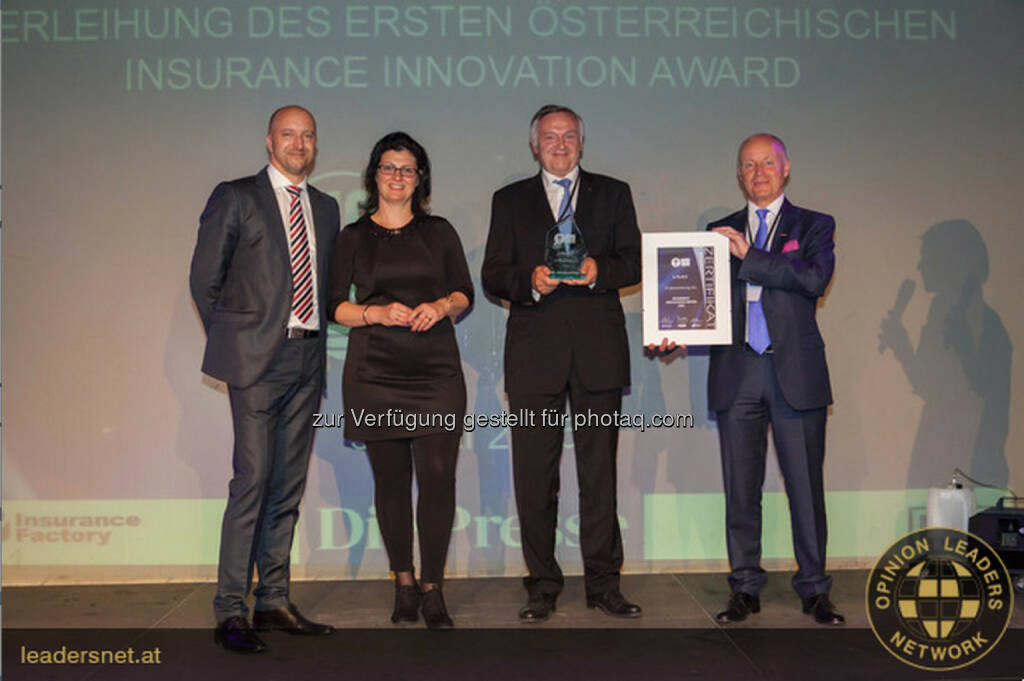 Mark Winkler (Managing Director Braintribe), Erika Krizsan (Managing Director Insurance Factory), Heinz Schuster (CEO s Versicherung) und Franz Rudorfer (Geschäftsführer Bundessparte Bank u. Versicherung der WKÖ): Insurance Innovation Award 2015 für die s Versicherung Fotocredit: Mikkelsen, © Aussendung (10.06.2015)
