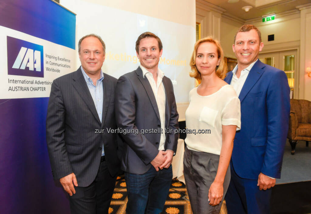Richard Grasl, Niall Horgan, Antonia Tritthart, Andreas Martin: IAA Business Communication Lunch mit Niall Horgan, (C) ORF, © Aussender (10.06.2015)