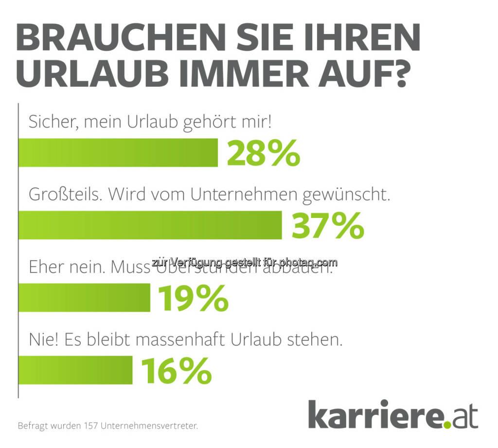 karriere.at Informationsdienstleistung GmbH: karriere.at Umfrage: Keine Zeit für Urlaub! Ein Drittel der Arbeitnehmer bleibt auf Urlaubstagen sitzen, © Aussender (16.06.2015)
