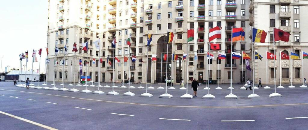 Baku, European Games, Europaspiele, Fahnen (18.06.2015)