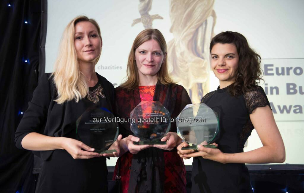 Eva Fischer (Partner; Vienna), Katrin Stauber (Senior Associate, Vienna) and Anna Diblikova (Associate; Prague), Wolf Theiss: For the fifth year in a row, Wolf Theiss has been successful at the European Women in Business Law Awards. Following the Best in Austria Award, Best in Croatia Award and Best in Romania Award in 2014, this year the law firm has again been successful in all three categories. (C) Wolf Theiss, © Aussendung (20.06.2015)