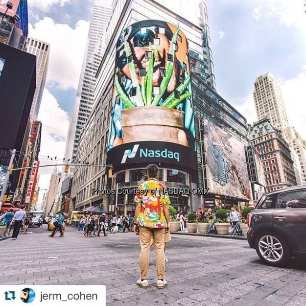 #Repost @jerm_cohen: A few years ago, I set a goal for myself.  I wanted to shoot an Ad that would appear on a huge NYC billboard which thousands of people would see…...before I turn 30 years old.  Yesterday, I accomplished that goal with 7 years to spare.  Except it's not an Ad per say- perhaps better.  @NasDaq asked me to display some of my personal work on their tower, which happens to be located right in the center of TIMES SQUARE at arguably the busiest pedestrian intersection in THE WORLD.  Big thanks to @NasDaq for this beautiful opportunity. Also, s/o to @samthecobra, @seandshoots, and @samalive for helping me document this special milestone. Tumblr link in bio to see the full set.  Reach for the stars, y'all  Source: http://facebook.com/NASDAQ (21.06.2015)