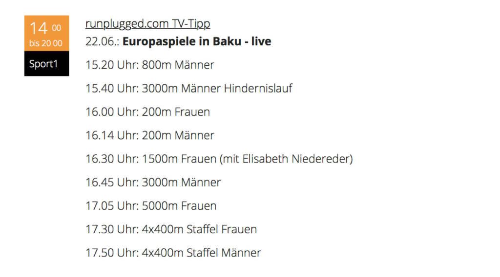 TV-Tipps Runplugged, Beispiel Baku. Generell http://runplugged.com/tv (22.06.2015)