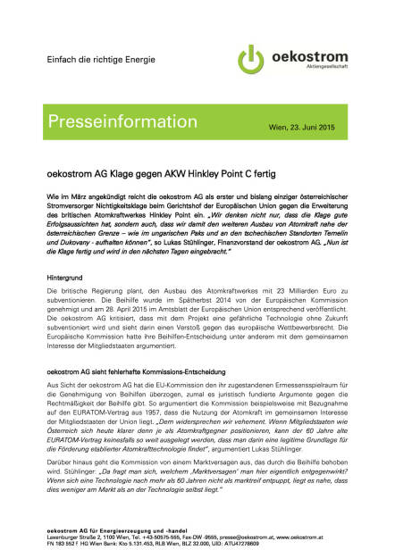 oekostrom Klage gegen AKW Hinkley fertig, Seite 1/2, komplettes Dokument unter http://boerse-social.com/static/uploads/file_155_oekostrom_klage.pdf (23.06.2015)