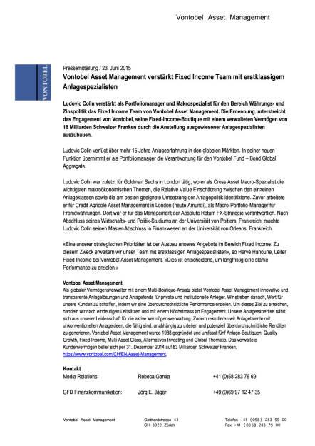 Vontobel Asset Management verstärkt Fixed Income Team mit Ludovic Colin, Seite 1/1, komplettes Dokument unter http://boerse-social.com/static/uploads/file_159_vontobel.pdf (23.06.2015)