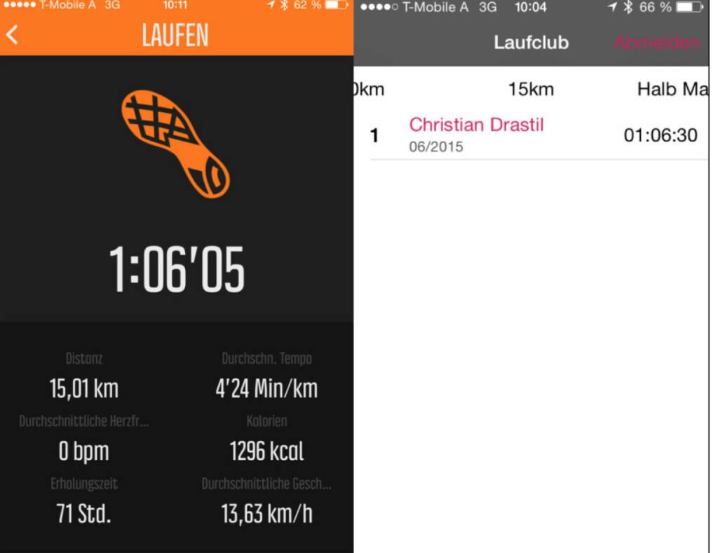 Erster 15er für den Laufclub, verglichen mit der Suunto Uhr (27.06.2015)