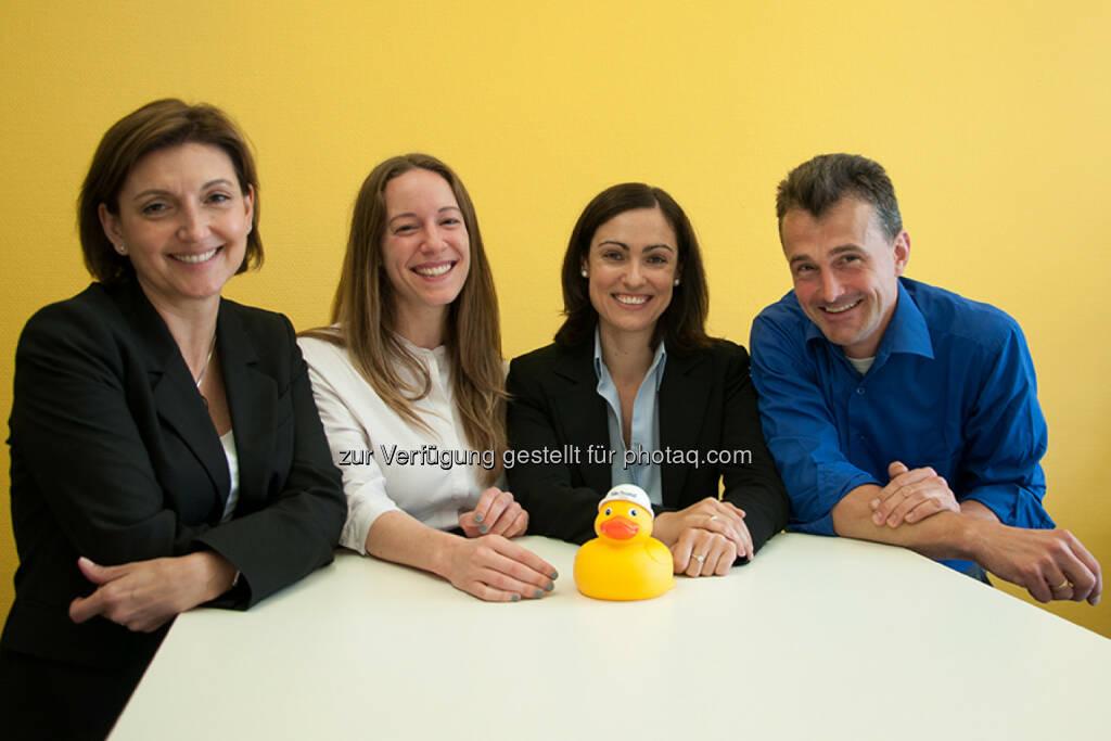 Corporate Sieger Verbund: Winnie Matzenauer, Claudia Höbarth, Bettina Mayerl, Florian Seidl. Nicht am Bild: Barbara Keller und Konrad Fux. Ente Doris, © beigestellt (30.06.2015)