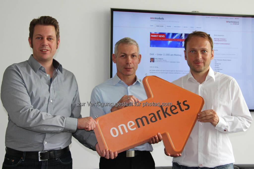 Sonderpreis Corporate Sieger D, onemarkets: Thomas May (GodmodeTrader), Richard Pfadenhauer (Hypo-Vereinsbank onemarkets, Chefredakteur) und Henry Philippson (GodmodeTrader), © beigestellt (30.06.2015)