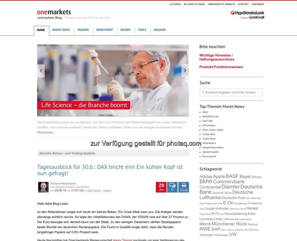 onemarkets - http://blog.onemarkets.de, © beigestellt (30.06.2015)