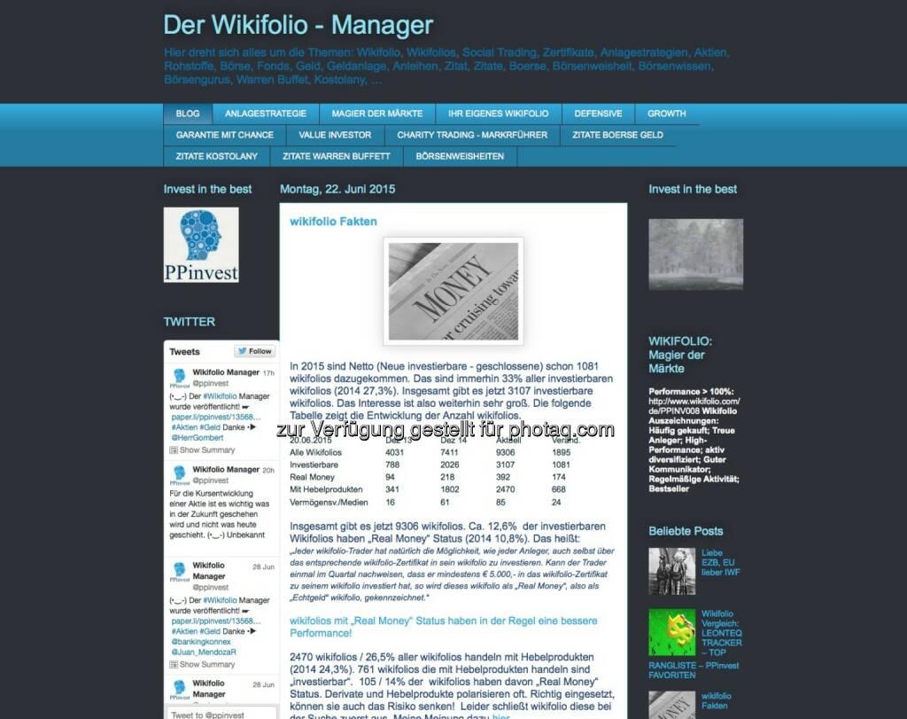 Der Wikifolio - Manager - http://ppinvest-blog.blogspot.co.at, © beigestellt (30.06.2015)