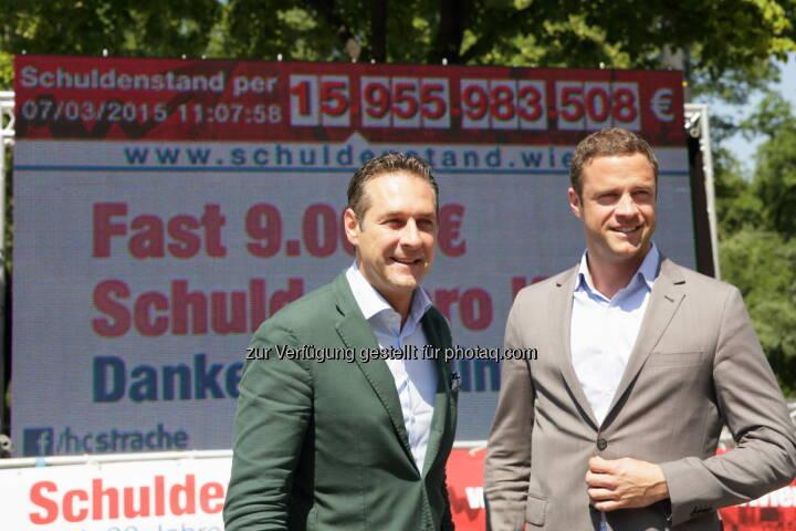 HC Strache und Johann Gudenus vor dem Schuldenticker der FPÖ-Wien (Bild: Andreas Ruttinger, FPÖ-Wien)