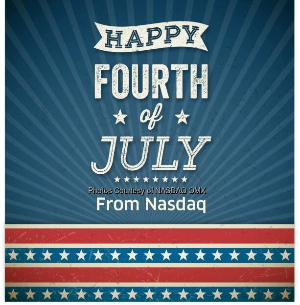 Happy July 4th from everyone here at Nasdaq!  #IndependenceDay   Source: http://facebook.com/NASDAQ (05.07.2015)