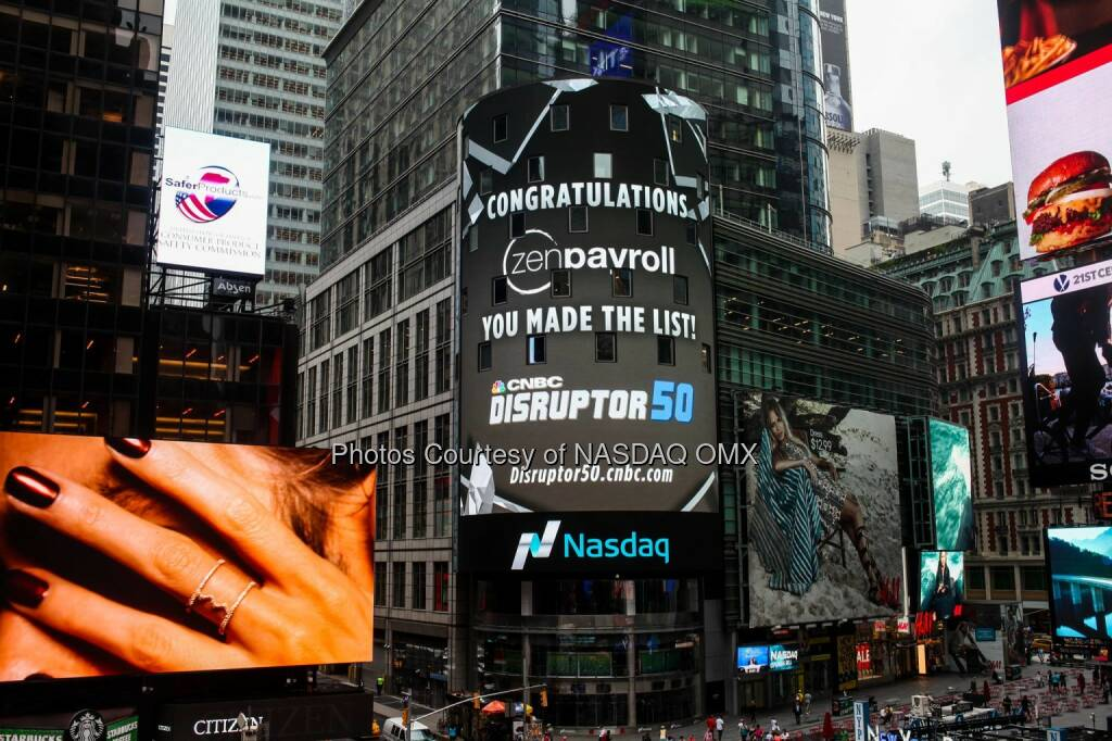 Congratulations to ZenPayroll on making CNBC's 2015 #Disruptor50 list!  Source: http://facebook.com/NASDAQ (12.07.2015)
