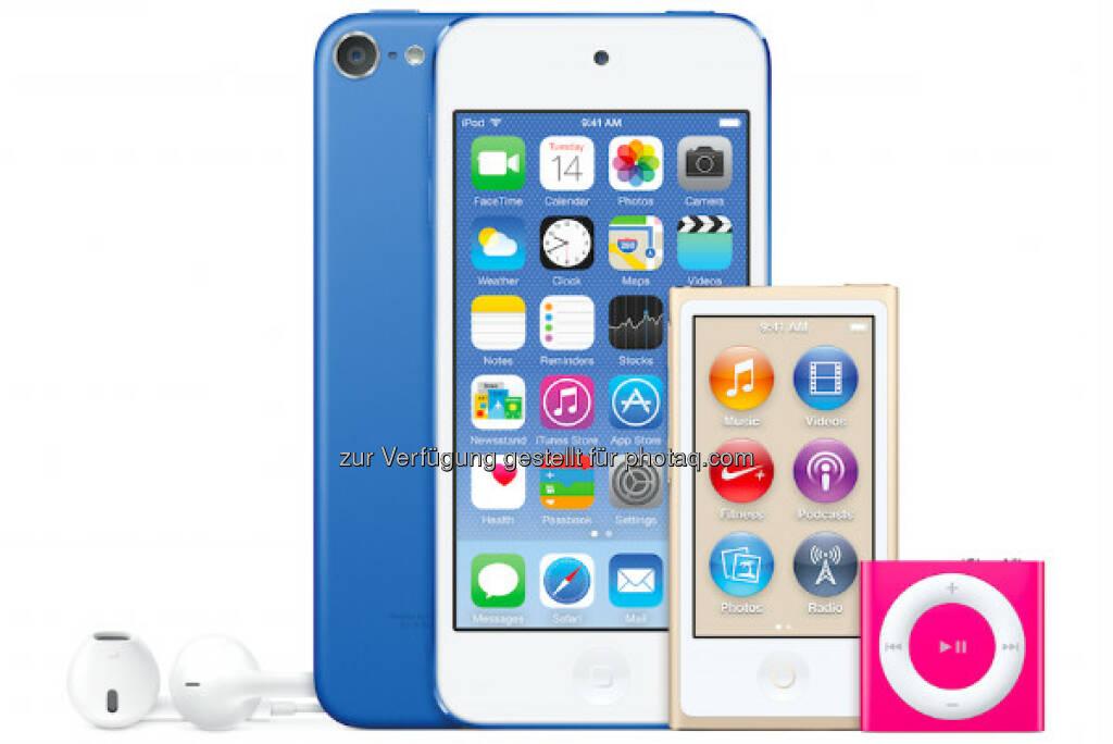 Neuer Apple iPod touch, neue Farben, A8 Chip, 8-Megapixel iSight Kamera & Apple Music ; © 2015 Apple Inc. , © Aussendung (15.07.2015)