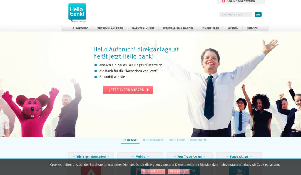 100 / 100 am 20. Juli redirectet auf hellobank.at (20.07.2015)