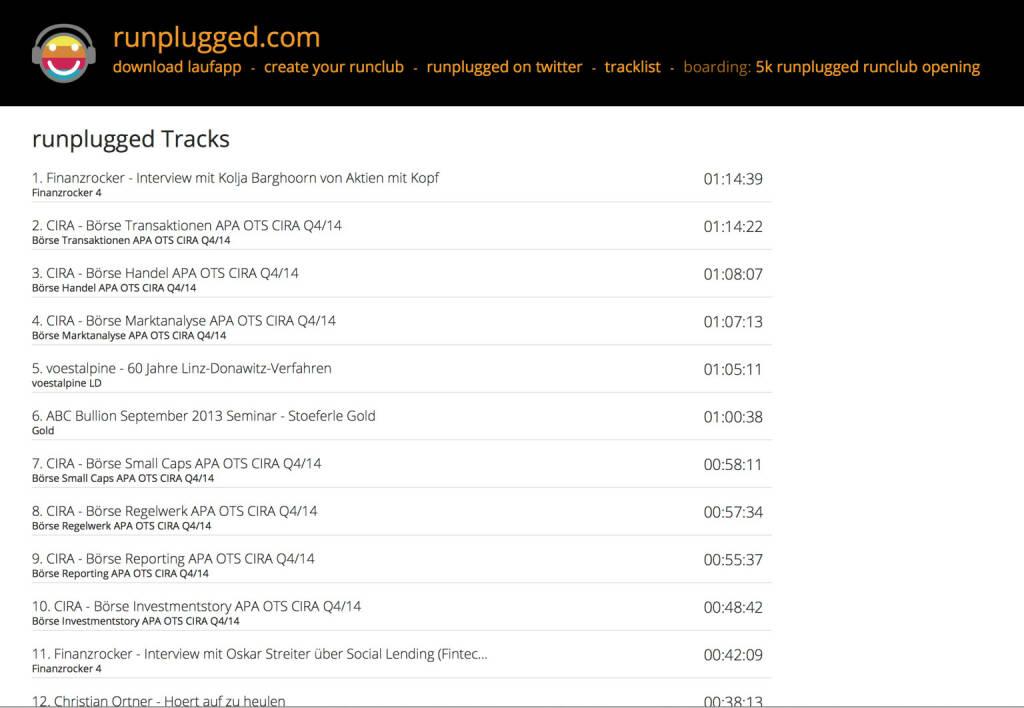 Runplugged Tracklist mit Finanzwissen http://runplugged.com/tracks/playlist_web, © Diverse  (20.07.2015)