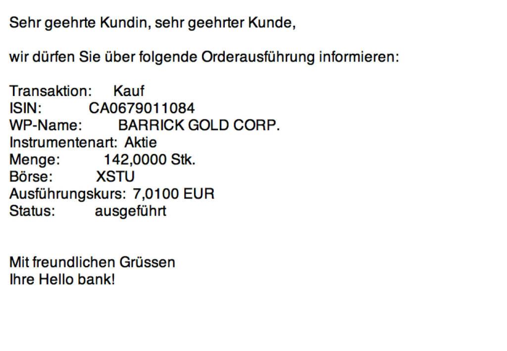 Tag 11: Kauf 142 Barrick Gold zu 7,01 in Stuttgart (21.07.2015)