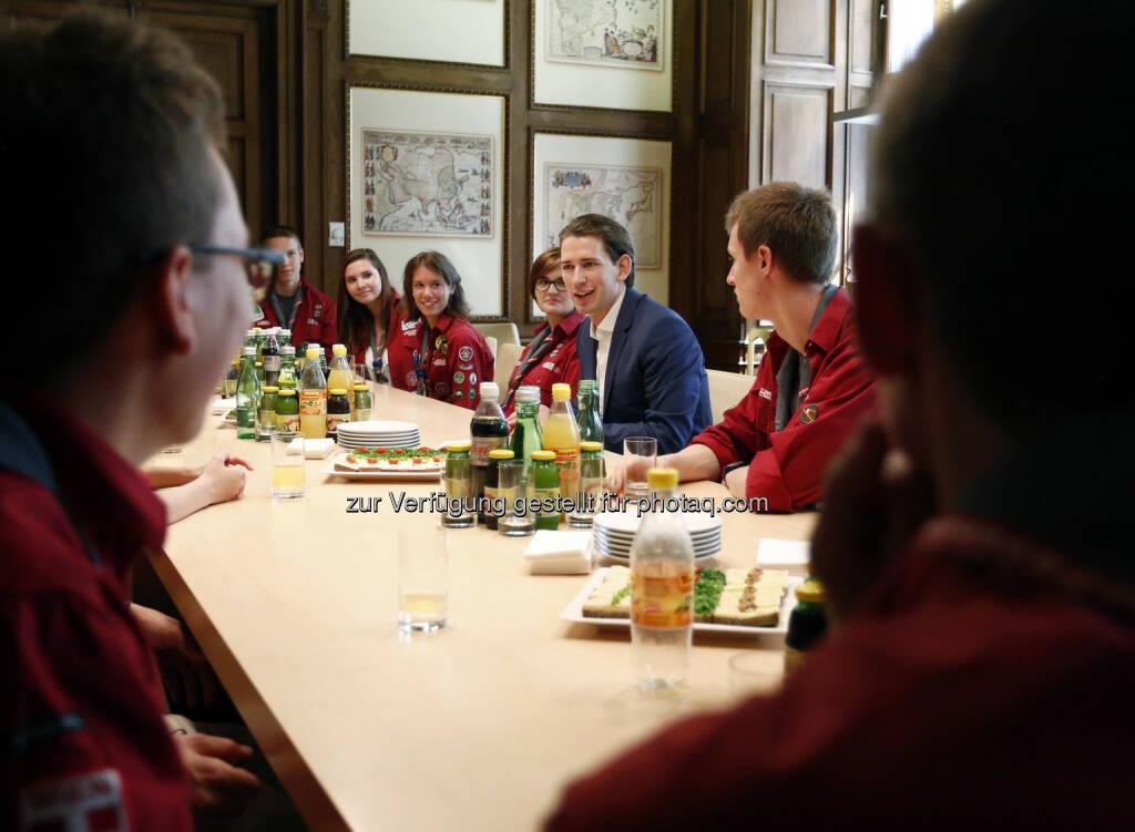 Sebastian Kurz : Pfadfinder und Pfadfinderinnen Österreichs - Verabschiedung der Jamboreeteilnehmer : © Barbara Koller , © Aussender (21.07.2015)