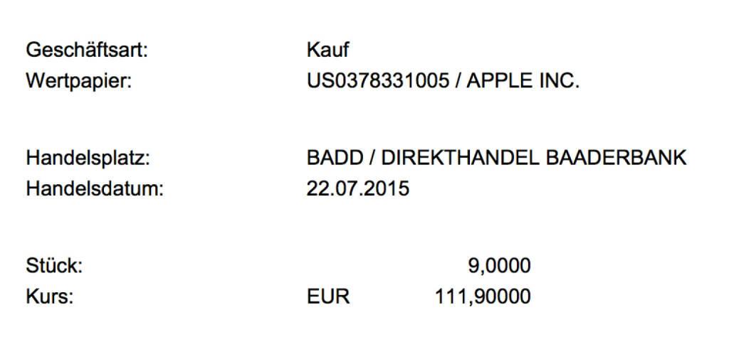 Tag 12/4: Kauf 9 Apple zu 111,9 im Baader Direkthandel (22.07.2015)
