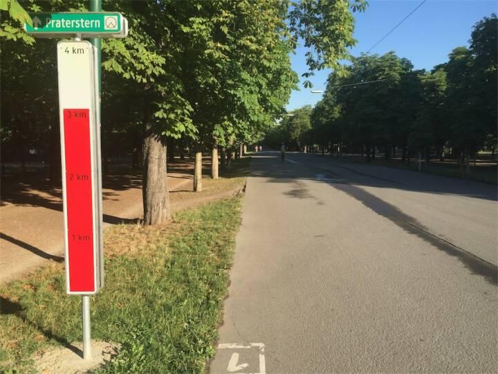 Neue Kilometer Markierungen im Prater