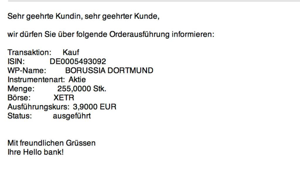 Tag 14: Kauf 255 Borussia Dortmund zu 3,90 (24.07.2015)