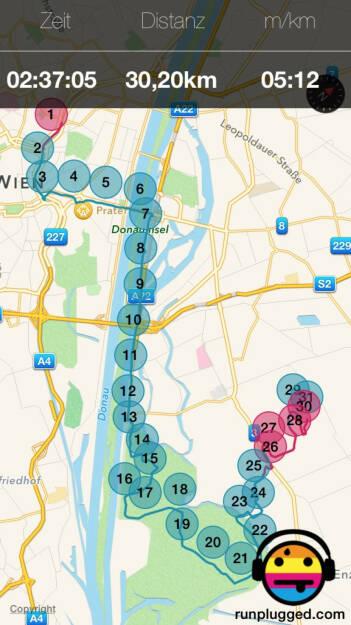 30,2 Km mit Friedensbrücke, Praterstrasse, Donauinsel, Lobau, Gross Enzersdorf, Seestadt (26.07.2015)