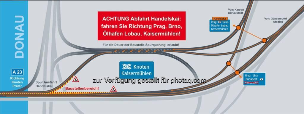 Asfinag : A 23 Praterbrücke – Richtung Süden neue Spurführung ab Montag, 3. August : Ausfahrt Handelskai bis Mitte Oktober nur über Knoten Kaisermühlen erreichbar : (c) asfinag, © Aussendung (28.07.2015)