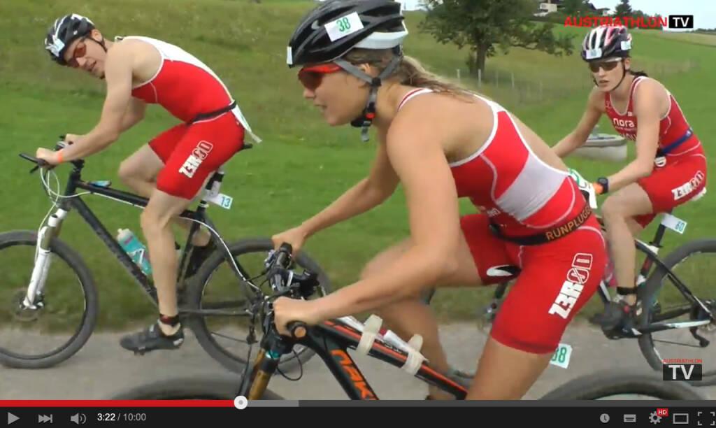 Mit Runplugged Gurt : Sandra Koblmüller überholt die Konkurrenz beim Radfahren, Still aus https://www.youtube.com/watch?v=oc7bPLG3LU0&feature=youtu.be, © Sandra Koblmüller (03.08.2015)