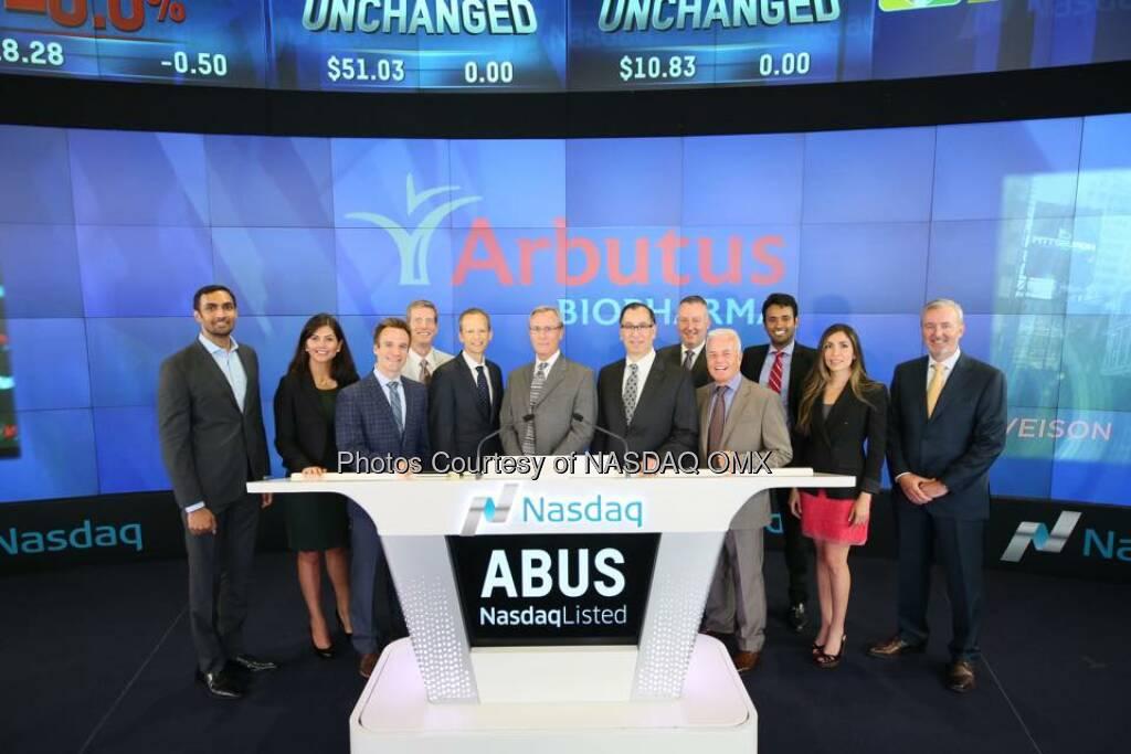 Arbutus Biopharma rings the Nasdaq Opening Bell! $ABUS  Source: http://facebook.com/NASDAQ (03.08.2015)