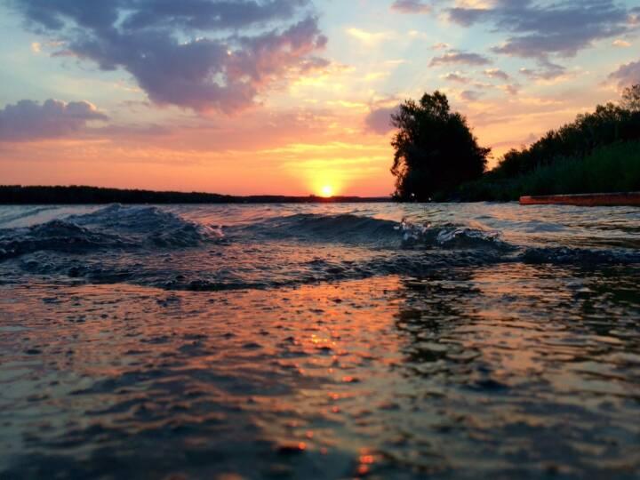 Sonnenaufgang, Wasser, Wellen, Donau
