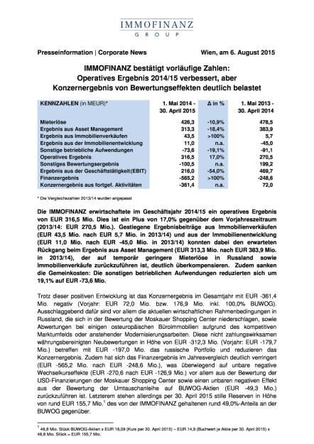 Immofinanz bestätigt vorläufige Zahlen, Seite 1/3, komplettes Dokument unter http://boerse-social.com/static/uploads/file_277_immofinanz_bestatigt_vorlaufige_zahlen.pdf (07.08.2015)