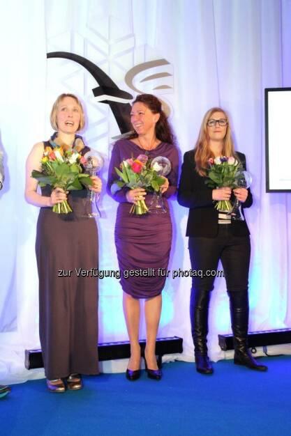 voestalpine-Mitarbeiter-WM - Siegerehrung der Damen: 1. Carina Rohdin (Uddeholms AB) 2. Tina Hoffelner (voestalpine Schienen GmbH) 3. Martina Mörsdorf (voestalpine Stamptec) (14.03.2013)