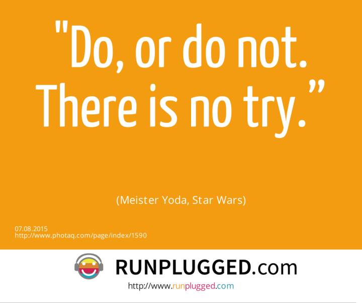 "Do, or do not. There is no try.""<br><br> (Meister Yoda, Star Wars)"