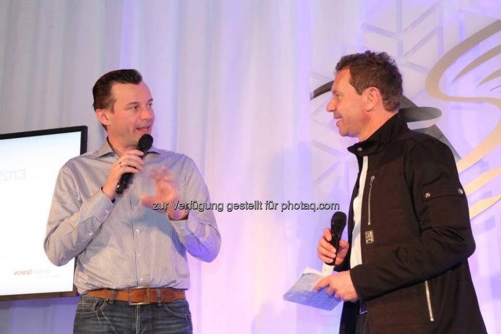 voestalpine-Mitarbeiter-WM: Gerhard Kürner und Moderator Roman Roell  (14.03.2013)