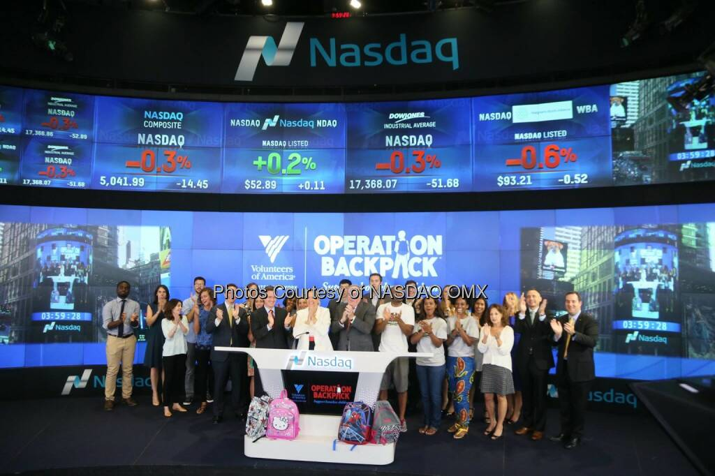 Volunteers of America ring the @Nasdaq Closing Bell in support of #OperationBackpack! @Vol_of_America  Source: http://facebook.com/NASDAQ (08.08.2015)