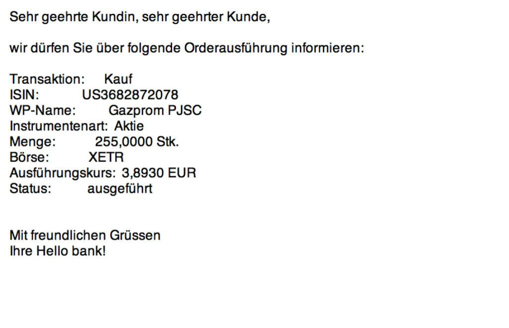Tag 25a: Kauf 255 Gazprom zu 3,893 (10.08.2015)