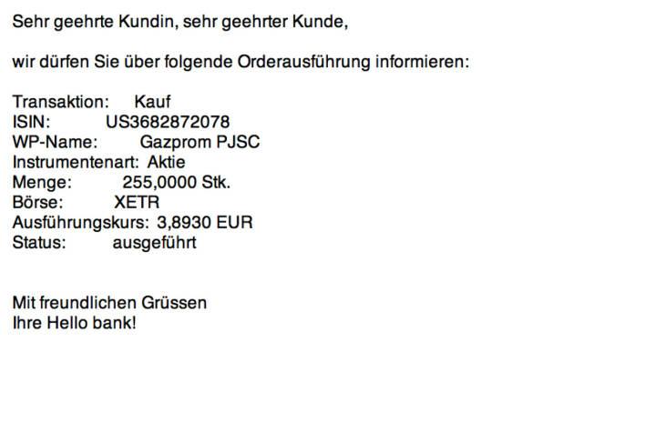 Tag 25a: Kauf 255 Gazprom zu 3,893