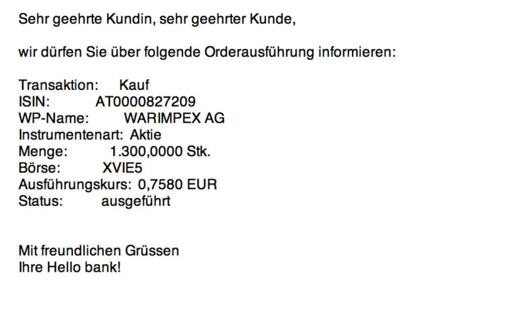 Tag 28: Kauf 1300 Warimpex zu 0,758 (13.08.2015)