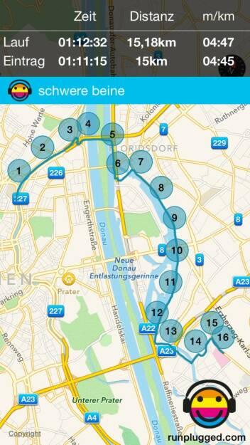 15,18km gelaufen, glatter Eintrag 15k mit Runmoji und Prosa (17.08.2015)