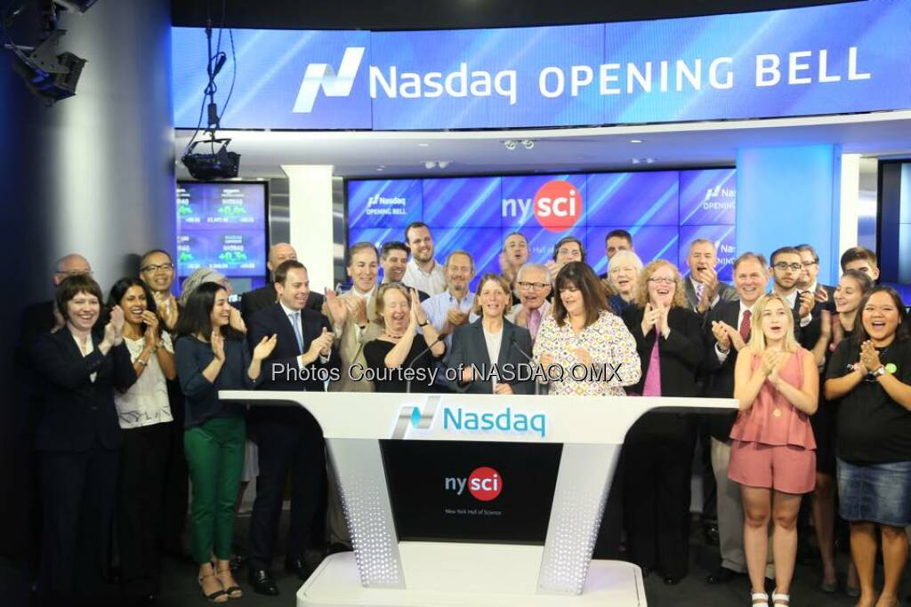 New York Hall of Science rings the Nasdaq Opening Bell!  Source: http://facebook.com/NASDAQ (17.08.2015)