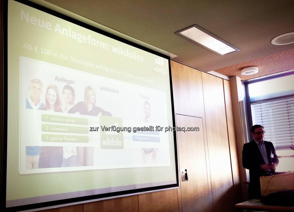 Wikifolio bei der Konferenz Finanzdienstleister der nächsten Generation, © Wikifolio (15.03.2013)