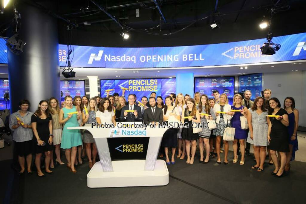 Pencils Of Promise rang the Nasdaq Opening Bell!  Source: http://facebook.com/NASDAQ (21.08.2015)
