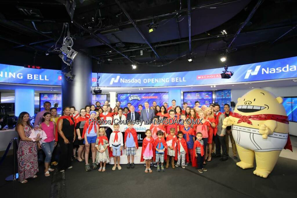 Scholastic and Captain Underpants rang the Nasdaq Opening Bell! $SCHL  Source: http://facebook.com/NASDAQ (24.08.2015)