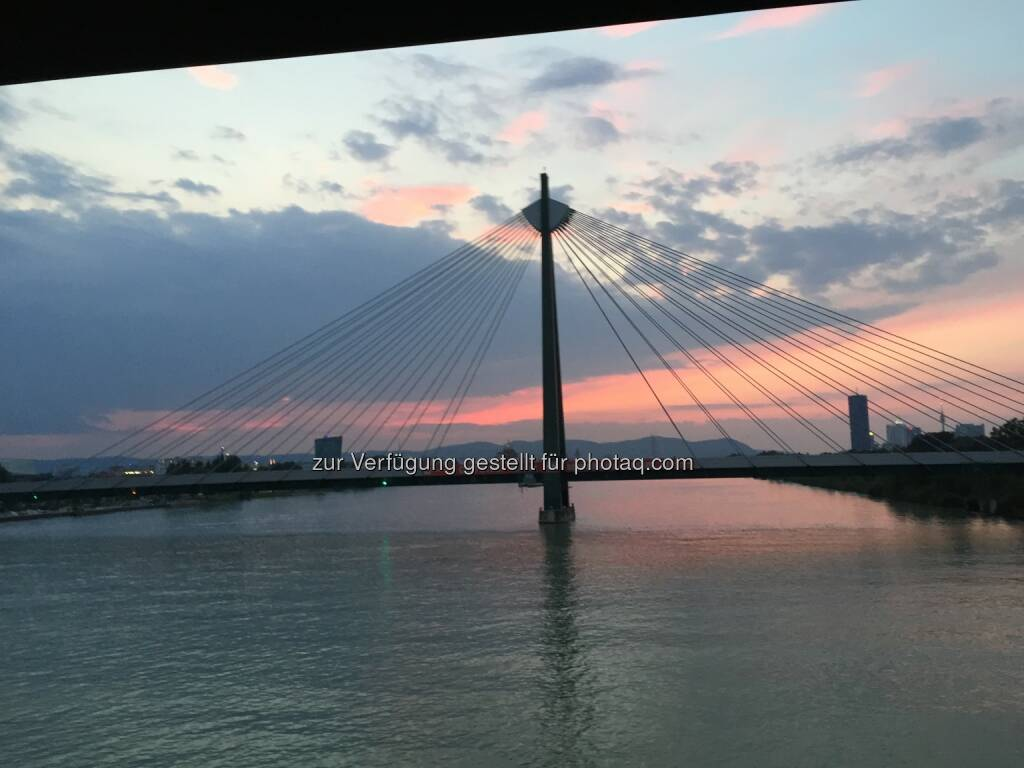 Sonnenuntergang, Schrägseilbrücke (24.08.2015)
